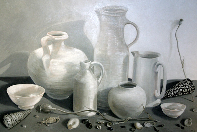 Black And White Still Life Oil On Board Still Life Paintings